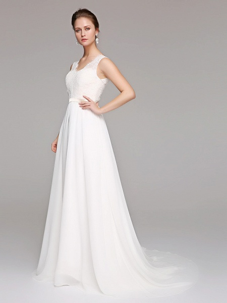 A-Line Wedding Dresses V Neck Court Train Chiffon Lace Bodice Regular Straps Simple Illusion Detail Backless_3