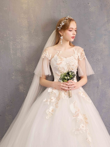 Ball Gown Wedding Dresses Bateau Neck Maxi Lace Tulle Short Sleeve Glamorous See-Through Backless_10