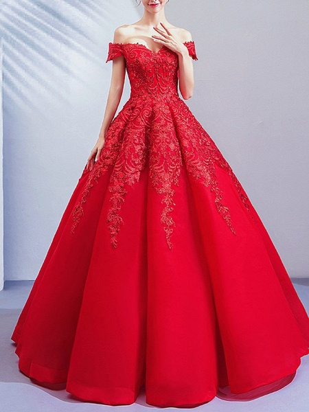 Ball Gown Wedding Dresses Off Shoulder Floor Length Lace Cap Sleeve Romantic Plus Size Red_3