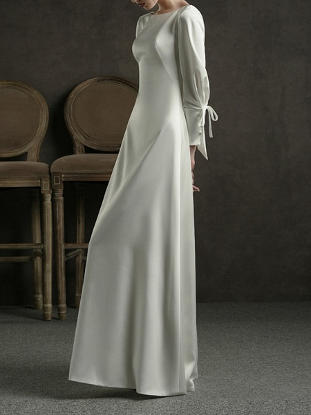 Sheath \ Column Wedding Dresses Jewel Neck Floor Length Satin Long Sleeve Simple Elegant_3