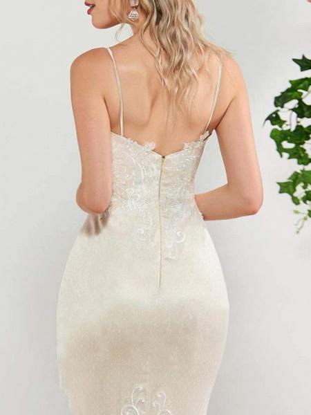 Mermaid \ Trumpet Wedding Dresses Spaghetti Strap Sweep \ Brush Train Lace Satin Tulle Sleeveless Romantic_3