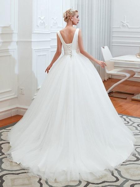 A-Line Wedding Dresses V Neck Court Train Tulle Spaghetti Strap Formal Romantic Casual_4