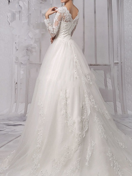 Ball Gown Wedding Dresses Jewel Neck Sweep \ Brush Train Lace Tulle Long Sleeve Formal_2
