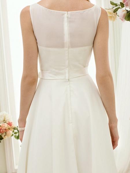 A-Line Wedding Dresses Bateau Neck Tea Length Chiffon Regular Straps Vintage Little White Dress 1950s_10