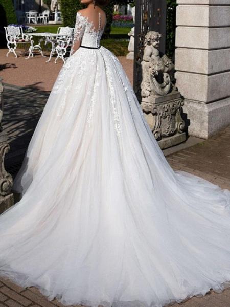 A-Line Off Shoulder Tea Length Tulle Short Sleeve Vintage Sexy Wedding Dress in Color See-Through Wedding Dresses_3