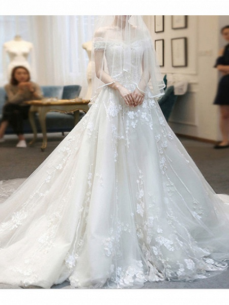 A-Line Wedding Dresses Off Shoulder Sweep \ Brush Train Lace Tulle Cap Sleeve Casual Plus Size_1