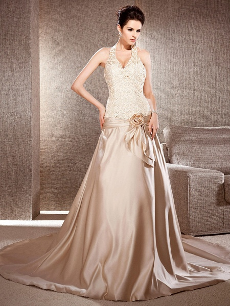 Princess A-Line Wedding Dresses V Neck Chapel Train Lace Satin Sleeveless Wedding Dress in Color_1