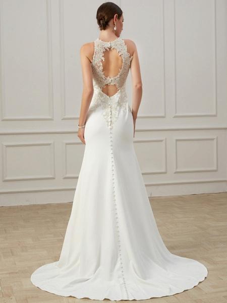 Mermaid \ Trumpet Wedding Dresses Jewel Neck Sweep \ Brush Train Lace Tulle Sleeveless Formal Illusion Detail Plus Size_5