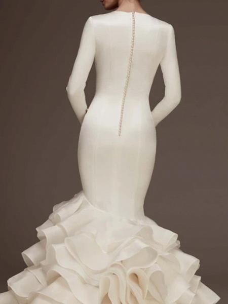 Mermaid \ Trumpet Wedding Dresses V Neck Sweep \ Brush Train Satin Long Sleeve Plus Size Modern Elegant_2