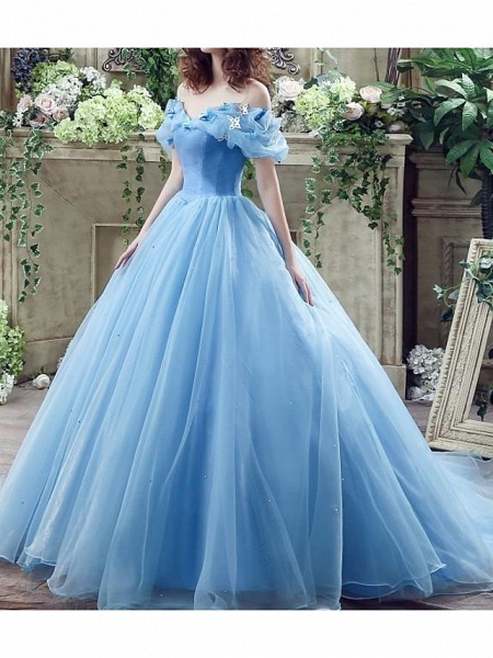 Ball Gown Wedding Dresses Off Shoulder Floor Length Polyester Short Sleeve Country Plus Size_3