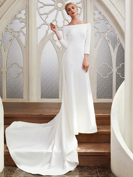 A-Line Wedding Dresses Bateau Neck Chapel Train Satin 3\4 Length Sleeve Elegant_5