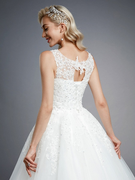 Ball Gown Wedding Dresses Jewel Neck Floor Length Lace Tulle Regular Straps Formal Casual Illusion Detail Backless_8