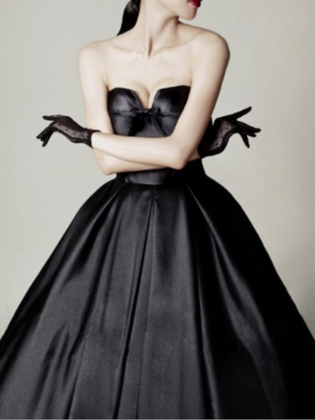 A-Line Wedding Dresses Sweetheart Neckline Sweep \ Brush Train Satin Strapless Formal Black_1