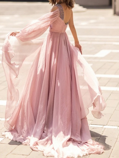 A-Line Wedding Dresses One Shoulder V Neck Sweep \ Brush Train Chiffon Sleeveless Vintage Sexy Wedding Dress in Color_6