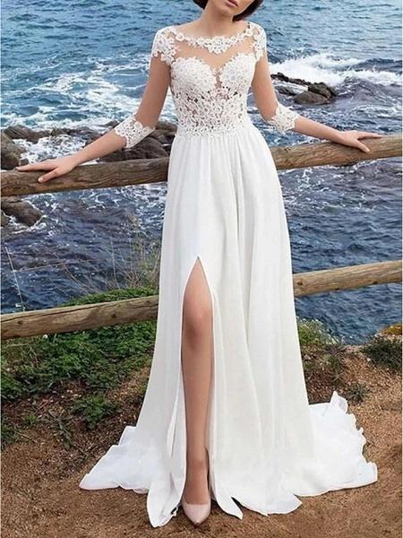 A-Line Wedding Dresses Jewel Neck Sweep \ Brush Train Chiffon Lace 3\4 Length Sleeve Boho Plus Size Illusion Sleeve_1