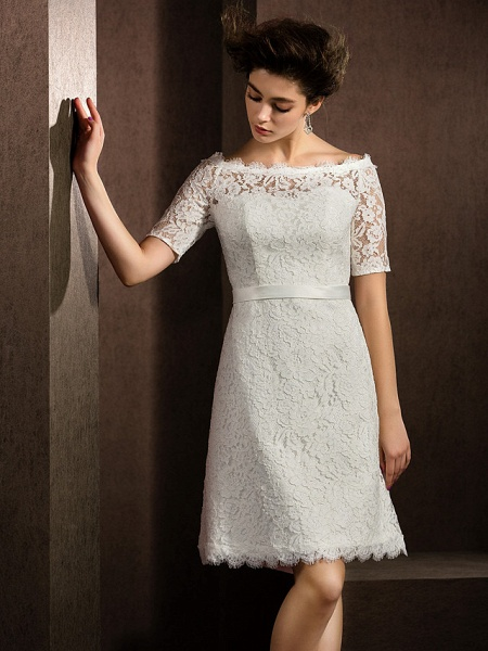 A-Line Wedding Dresses Bateau Neck Knee Length Lace Half Sleeve Formal Casual Little White Dress Illusion Sleeve_8