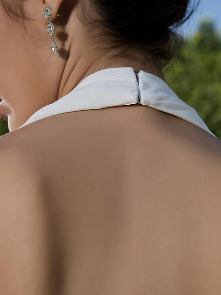 Sheath \ Column Wedding Dresses Halter Neck Sweetheart Neckline Asymmetrical Chiffon Sleeveless_9