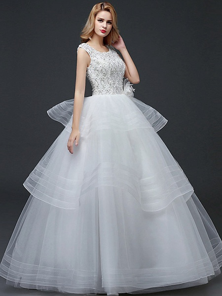 Ball Gown Wedding Dresses Scoop Neck Floor Length Lace Tulle Polyester Cap Sleeve Romantic_2