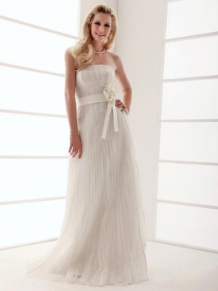 Sheath \ Column Wedding Dresses Strapless Floor Length Organza Sleeveless_2