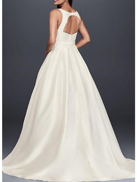 A-Line Wedding Dresses Jewel Neck Court Train Taffeta Regular Straps_2