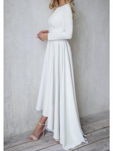 A-Line Wedding Dresses Jewel Neck Sweep \ Brush Train Chiffon Over Satin Long Sleeve Simple Modern_4