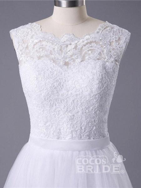 New Lace O-Neck Lace Tulle Boho Wedding Dresses_5