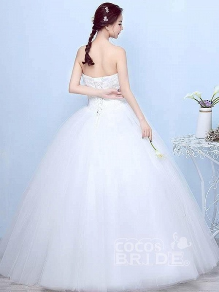 Simple Generous Lace Strapless off White Fashion Sexy Wedding Dresses_3
