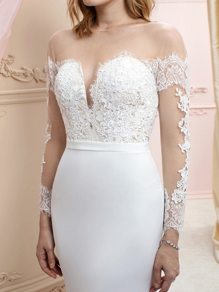 Mermaid \ Trumpet Wedding Dresses Bateau Neck Court Train Chiffon Corded Lace Long Sleeve Romantic Sexy See-Through Backless Illusion Sleeve_6