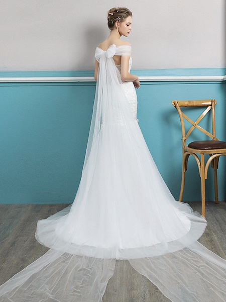 Mermaid \ Trumpet Wedding Dresses Off Shoulder Watteau Train Lace Tulle Polyester Short Sleeve Romantic Sexy_3