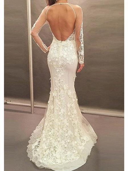 Affordable Mermaid Plus Size Long Sleeve Wedding Dresses_2