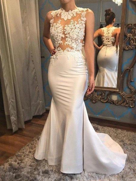 Mermaid Scoop Sleeveless Satin Applique Court Train Wedding Dresses_1