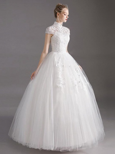 Ball Gown Wedding Dresses High Neck Floor Length Lace Tulle Polyester Short Sleeve Glamorous See-Through Illusion Detail_4