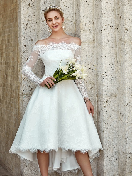A-Line Wedding Dresses Off Shoulder Asymmetrical Lace Long Sleeve Casual Plus Size Illusion Sleeve_9
