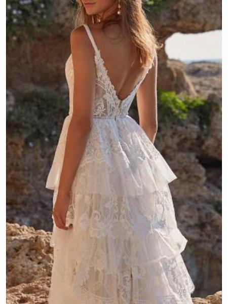 A-Line Wedding Dresses V Neck Sweep \ Brush Train Chiffon Lace Spaghetti Strap Boho_2