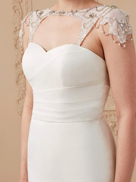 Mermaid \ Trumpet Wedding Dresses Sweetheart Neckline Sweep \ Brush Train Organza Tulle Cap Sleeve Formal Separate Bodies_18