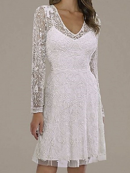 A-Line Wedding Dresses V Neck Short \ Mini Lace Tulle Long Sleeve Country Plus Size_3