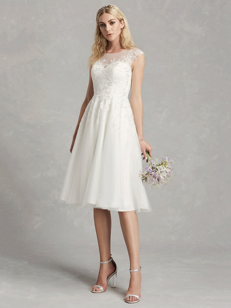 A-Line Wedding Dresses Jewel Neck Tea Length Lace Tulle Cap Sleeve Beautiful Back_4