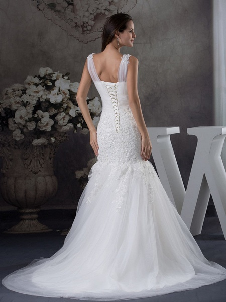 Mermaid \ Trumpet Scoop Neck Chapel Train Lace Tulle Regular Straps Wedding Dresses_3