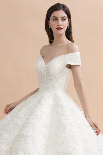 Elegant Off-the-shoulder Appliques Ball Gown Wedding Dresses_4