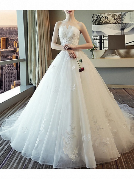 A-Line Wedding Dresses Strapless Court Train Polyester Strapless_1