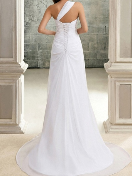 Mermaid \ Trumpet Wedding Dresses One Shoulder Sweep \ Brush Train Chiffon Sleeveless Simple_2
