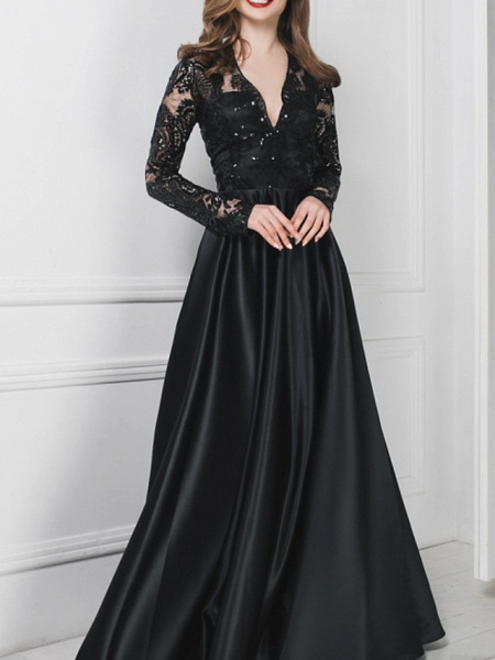 A-Line Wedding Dresses V Neck Floor Length Polyester Long Sleeve Formal Plus Size Black Modern_1