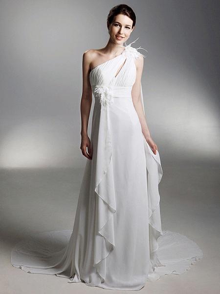 Sheath \ Column Wedding Dresses One Shoulder Watteau Train Chiffon Sleeveless_2