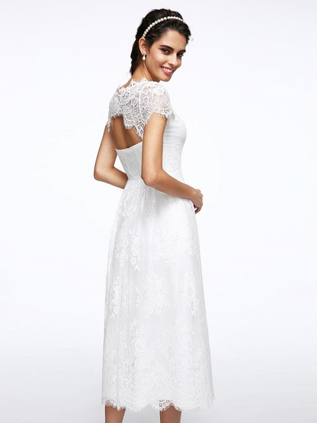 A-Line Wedding Dresses Jewel Neck Tea Length Lace Short Sleeve Simple Casual Illusion Detail Backless_8
