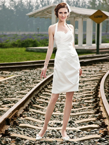 Sheath \ Column Wedding Dresses Halter Neck Short \ Mini Satin Regular Straps Little White Dress_1