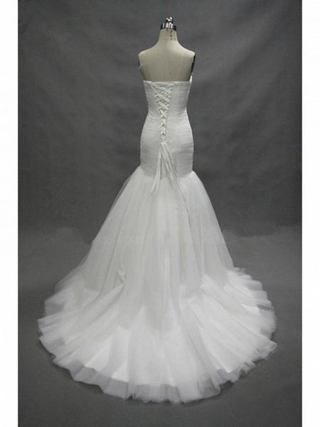 Mermaid \ Trumpet Sweetheart Neckline Court Train Tulle Strapless Simple Sexy Little White Dress Wedding Dresses_4