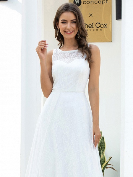 A-Line Wedding Dresses Jewel Neck Floor Length Lace Tulle Sleeveless Country Casual_5