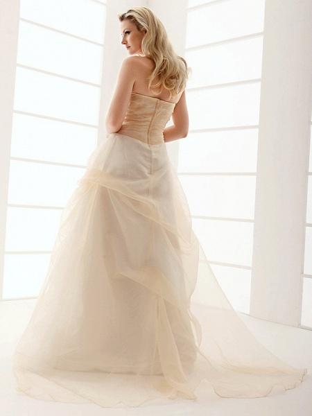 Princess A-Line Wedding Dresses Strapless Floor Length Organza Sleeveless Wedding Dress in Color_7