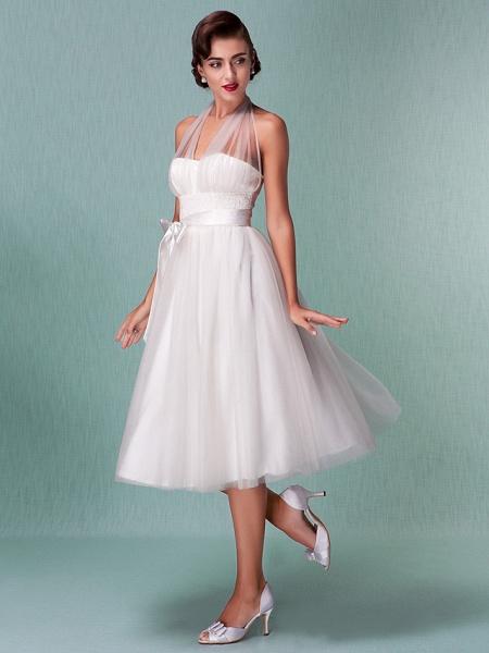 A-Line Wedding Dresses Halter Neck Knee Length Satin Tulle Regular Straps Casual Vintage Little White Dress Plus Size_4