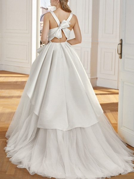 A-Line Wedding Dresses V Neck Sweep \ Brush Train Satin Tulle Sleeveless Vintage Sexy Wedding Dress in Color Backless_2